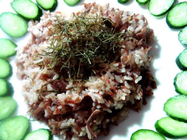 するめ塩辛と細切り天然がごめ昆布のチャーハン